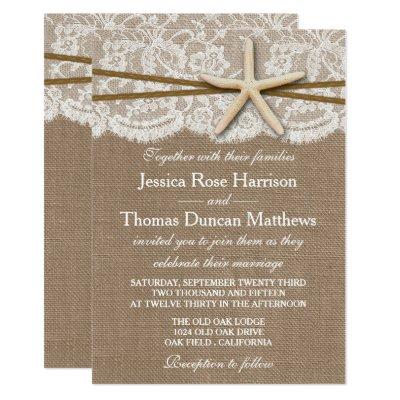 Starfish and Ribbon Bridal Shower Card – Rustic Beach Wedding Invitations