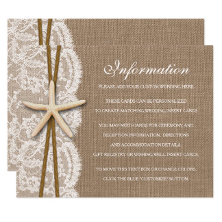The Rustic Starfish Beach Wedding Collection Enclosure Card