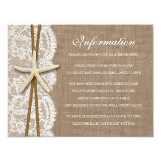 "The Rustic Starfish Beach Wedding Collection 4.25"" X 5.5"" Invitation Card"