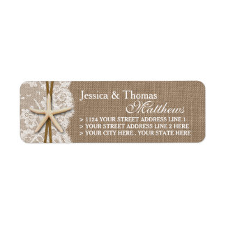 The Rustic Starfish Beach Wedding Collection Label