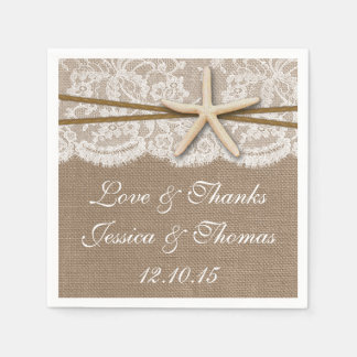 The Rustic Starfish Beach Wedding Collection Standard Cocktail Napkin