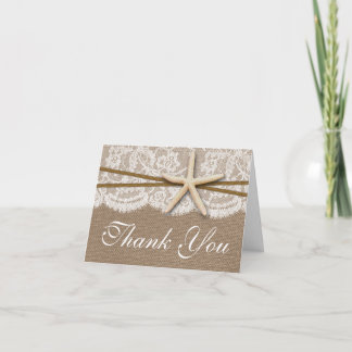 The Rustic Starfish Beach Wedding Collection Thank You Card
