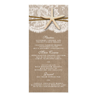 The Rustic Starfish Wedding Collection Menu Cards Rack Cards
