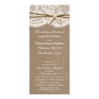 The Rustic Starfish Wedding Collection Programs Rack Card Template