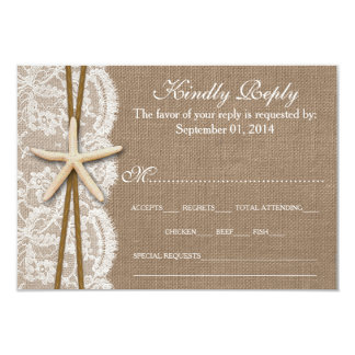 The Rustic Starfish Wedding Collection RSVP 3.5x5 Paper Invitation Card