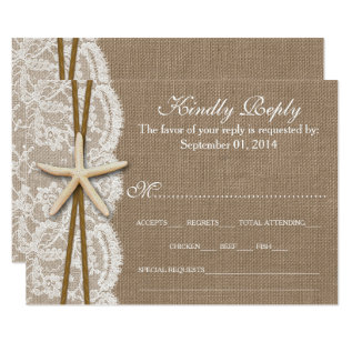 The Rustic Starfish Wedding Collection RSVP Card at Zazzle