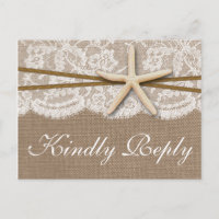 The Rustic Starfish Wedding Collection RSVP Invitation Postcard