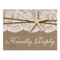 The Rustic Starfish Wedding Collection RSVP Postcard