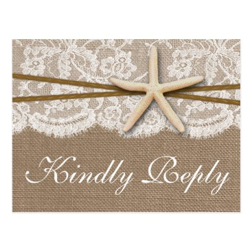 Invitation_Republic The Rustic Starfish Wedding Collection RSVP Postcard