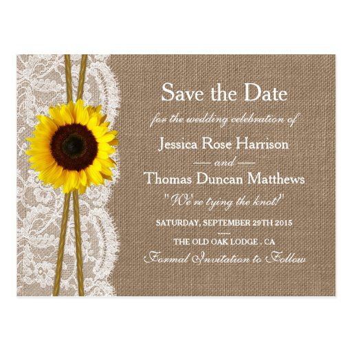 The Rustic Sunflower Collection Save The Date Postcard