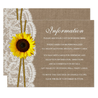 The Rustic Sunflower Wedding Collection Detail Card at Zazzle