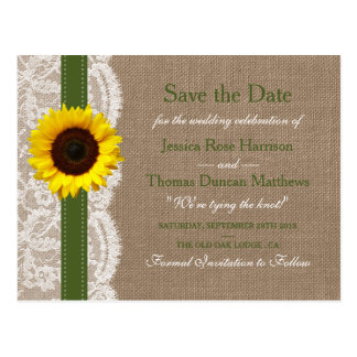 The Rustic Sunflower Wedding Collection - Green Postcard