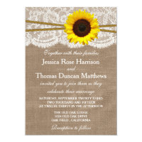 The Rustic Sunflower Wedding Collection 5&quot; X 7&quot; Invitation Card (<em>$2.01</em>)