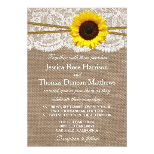 The Rustic Sunflower Wedding Collection 5x7 Paper Invitation Card