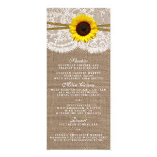 The Rustic Sunflower Wedding Collection Menu Card