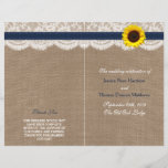"""The Rustic Sunflower Wedding Collection - Navy<br><div class=""""desc"""">The rustic sunflower collection is a stunning design featuring a lovely rustic burlap effect background with a romantic vintage white lace effect trim finished with a stunning sunflower and navy blue ribbon. These programs can be personalized for your special occasion and would make the perfect template for weddings, bridal showers,...</div>"""