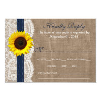 The Rustic Sunflower Wedding Collection - Navy 3.5x5 Paper Invitation Card (<em>$1.86</em>)