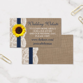 The Rustic Sunflower Wedding Collection - Navy Business Card