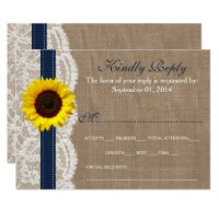 The Rustic Sunflower Wedding Collection - Navy Card (<em>$1.86</em>)