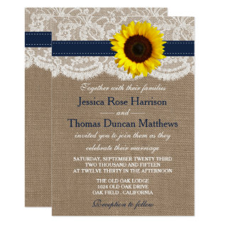 The Rustic Sunflower Wedding Collection - Navy Card at Zazzle