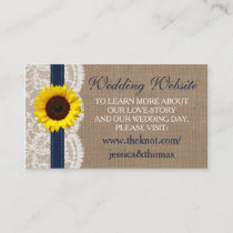 The Rustic Sunflower Wedding Collection - Navy Enclosure Card
