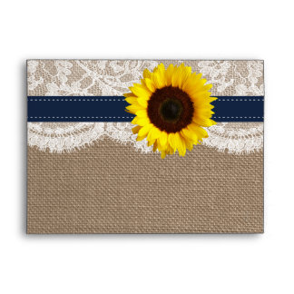 The Rustic Sunflower Wedding Collection - Navy Envelope
