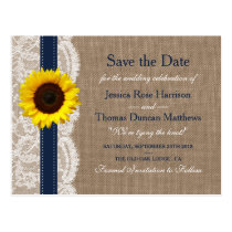 The Rustic Sunflower Wedding Collection - Navy Postcard