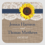 The Rustic Sunflower Wedding Collection - Navy Square Sticker