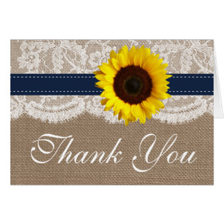 The Rustic Sunflower Wedding Collection - Navy Stationery Note Card