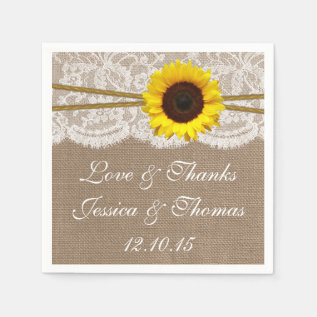 The Rustic Sunflower Wedding Collection Paper Napkin at Zazzle