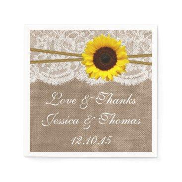 invitation_republic The Rustic Sunflower Wedding Collection Paper Napkin