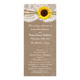 The Rustic Sunflower Wedding Collection Programs Full Color Rack Card
