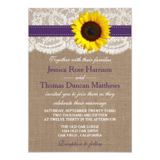 The Rustic Sunflower Wedding Collection - Purple Card at Zazzle