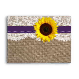 The Rustic Sunflower Wedding Collection - Purple Envelope