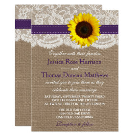 The Rustic Sunflower Wedding Collection - Purple Invitation