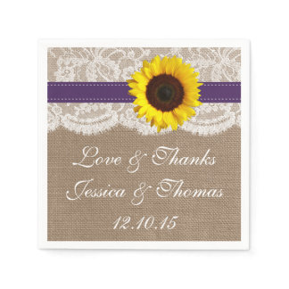 The Rustic Sunflower Wedding Collection - Purple Paper Napkin