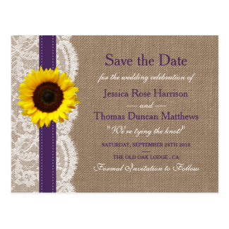 The Rustic Sunflower Wedding Collection - Purple Postcard