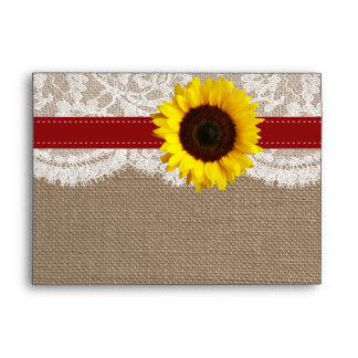 The Rustic Sunflower Wedding Collection - Red Envelope