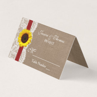 The Rustic Sunflower Wedding Collection - Red Place Card