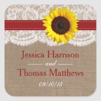 The Rustic Sunflower Wedding Collection - Red Square Sticker