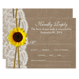 The Rustic Sunflower Wedding Collection RSVP Cards at Zazzle