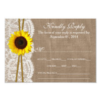 The Rustic Sunflower Wedding Collection RSVP Cards 3.5&quot; X 5&quot; Invitation Card (<em>$1.86</em>)
