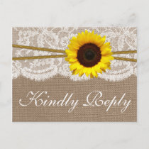The Rustic Sunflower Wedding Collection RSVP Invitation Postcard