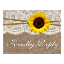 The Rustic Sunflower Wedding Collection RSVP Postcard