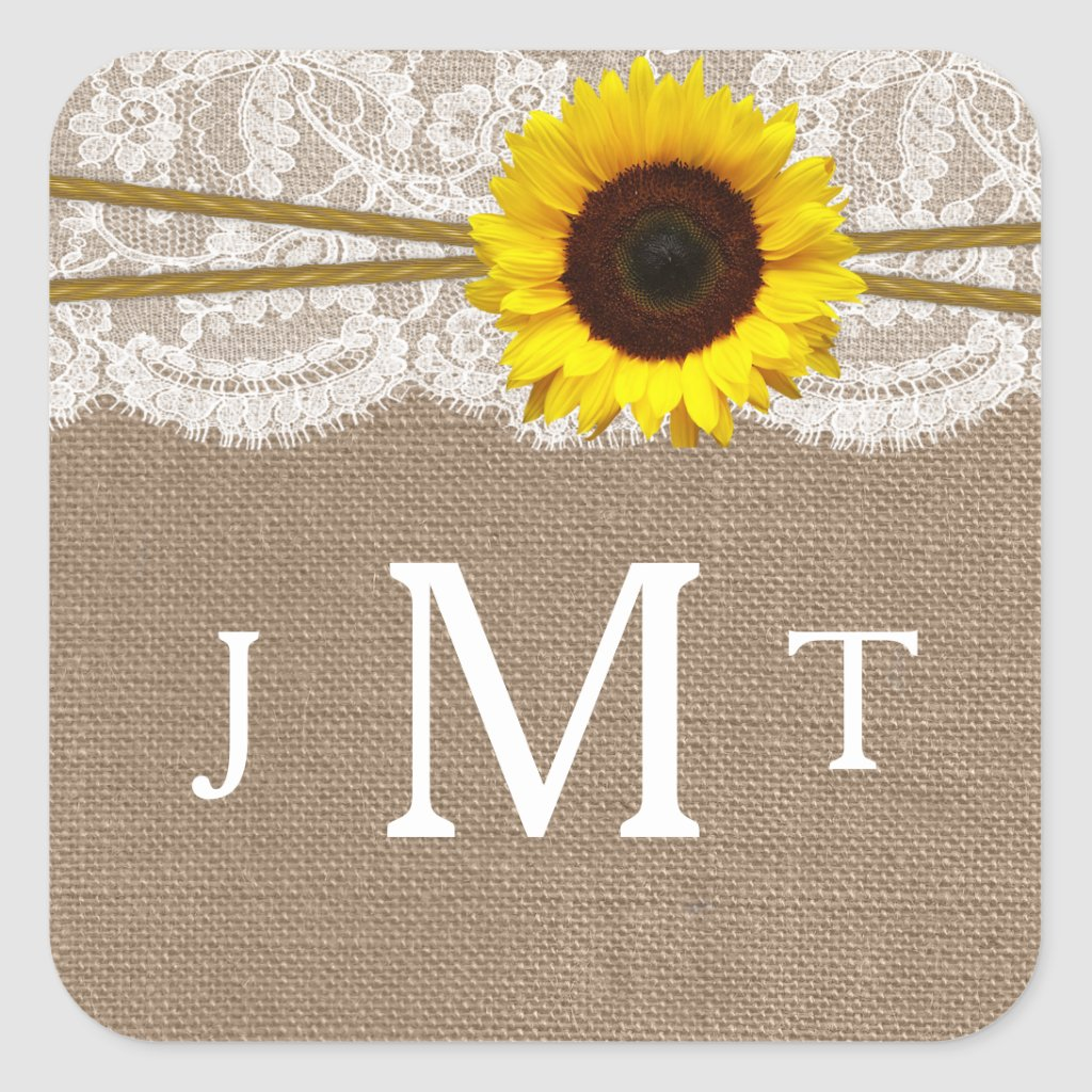 The Rustic Sunflower Wedding Collection Seals Square Stickers