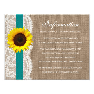 The Rustic Sunflower Wedding Collection - Teal 4.25x5.5 Paper Invitation Card