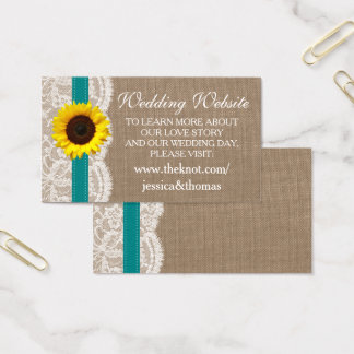 The Rustic Sunflower Wedding Collection - Teal Business Card