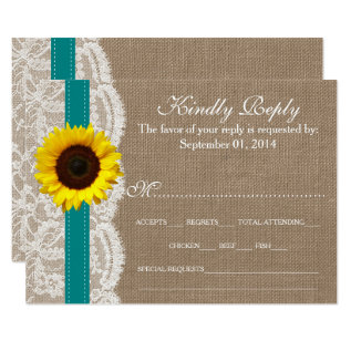 The Rustic Sunflower Wedding Collection - Teal Card at Zazzle
