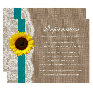 The Rustic Sunflower Wedding Collection - Teal Card