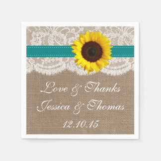 The Rustic Sunflower Wedding Collection - Teal Paper Napkin